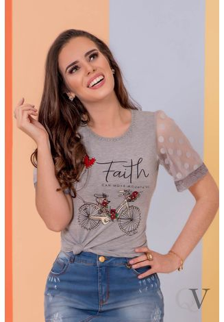 T-SHIRT-FAITH-MANGA-TULE-CINZA-PURO-SHARMY-A
