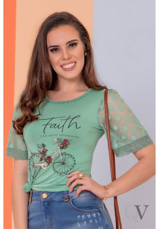 T-SHIRT-FAITH-MANGA-TULE-VERDE-PURO-SHARMY-A