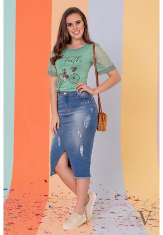 T-SHIRT-FAITH-MANGA-TULE-VERDE-PURO-SHARMY-B
